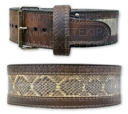 Titan Inset: Kodiak Oiled Leather with Genuine Snake Skin Prong Belt [под заказ]